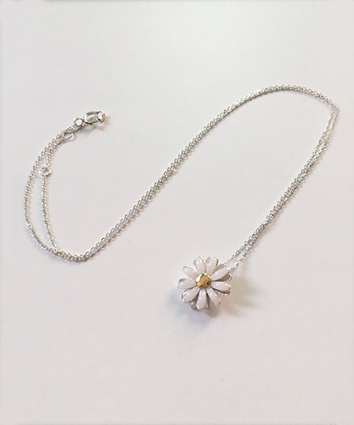 (silver925) white daisy necklace